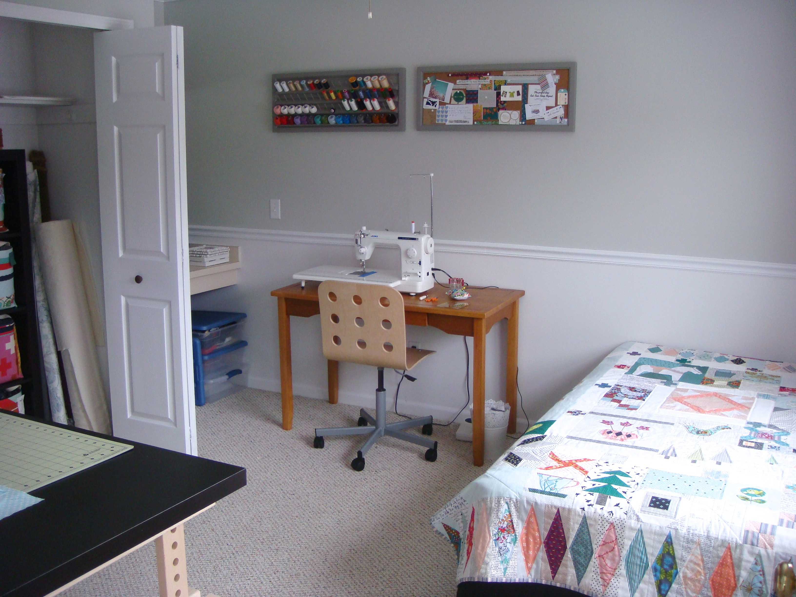 Of course priority number 1 was effective fabric storage  I have been  folding my fabric Jeni Baker style for a while now  I love how it looks. Friday finish  sewing room   Sarah Quilts